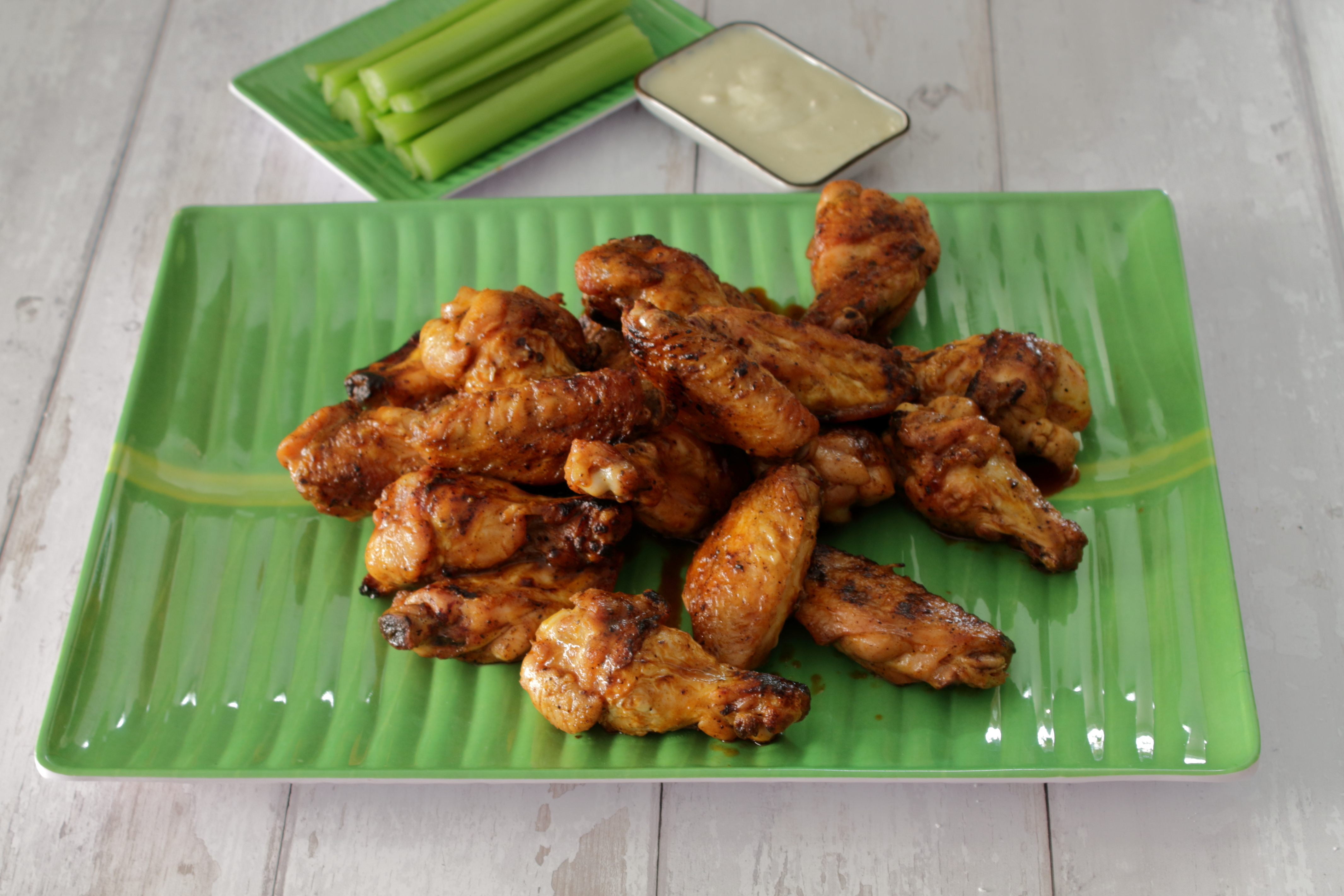 Grilled Hot Wings on a Banana Leaf Plate