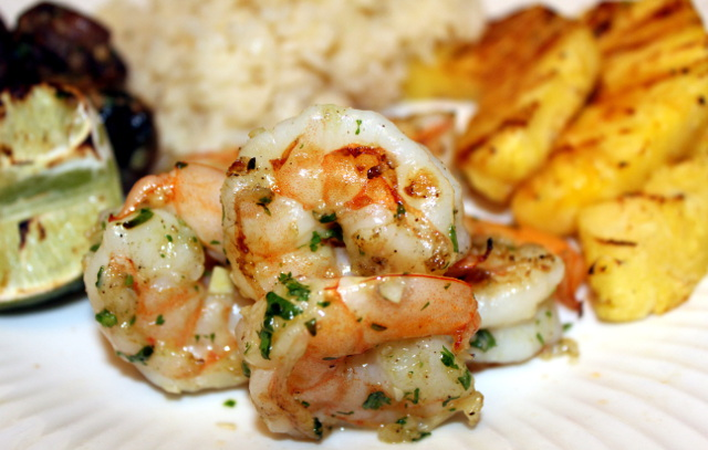 Grilled Shrimp with Rice, Beans and Grilled Pineapple